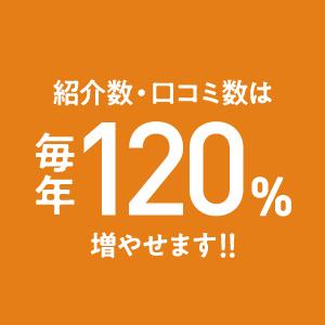 紹介数・口コミ数は毎年120%増やせます!!